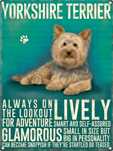 Yorkshire Terrier Personality Tin Wall Sign 30x40cm