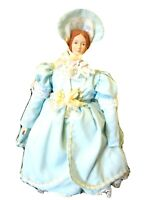 """18"""" Porcelain Bisque Doll w. Metal Stand-Painted Red Curls-Colonial Gown-Lace"""