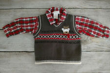 FIRST MOMENTS HOLIDAY BOYS 2 PC SHIRT SWEATER VEST REINDEER GRAY BLACK RED 0-3M
