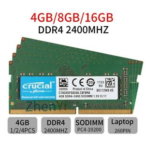 For Crucial 16GB 8GB 4GB DDR4 PC4-19200 2400Mhz CL17 SODIMM Laptop Memory RAM UK