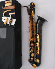 Professional Black baritone saxophone High-grade Engraving bell + 2 Neck + Case