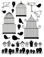 Transparent Silicone Stamps 18cm Re-usable Birdcages Bird Houses Cartoon Birds