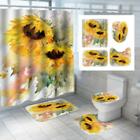 US Sunflower Shower Curtain Bathroom Toilet Seat Cover Mat Rugs Sets Home