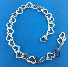 """925 Sterling Silver  Heart Link 6x10mm Bracelet 8"""" Adjustable Trigger Clasp"""