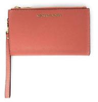 Michael Kors Jet Set Double Zip Wristlet Phone Wallet Pink Grapefruit