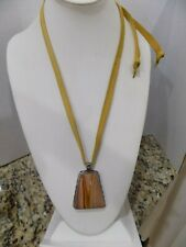 925 STERLING SILVER SIGNED PB 925 PEYOTE BIRD LARGE JASPER NECKLACE W LEATHER