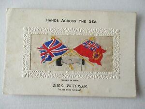 WOVEN SILK POSTCARD - R.M.S. VICTORIAN - HANDS ACROSS THE SEA