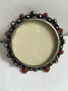 PICTURE FRAME - SILVER &  CARNELIAN - ITALY