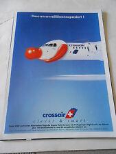 Publicité 1999  Crossair Suisse Avion avec un nez de clown AD