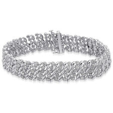 New Old Stock Sterling Silver Natural Diamond 2 CT Bracelet 925  7.25  inches