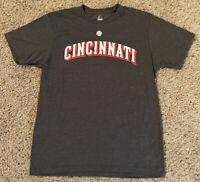 MLB Cincinnati Reds Baseball Throwback T-Shirt Majestic Gray Size L Large