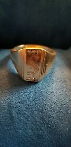 """14k Solid Yellow Gold Mens Estate  Monogram """"S""""  Ring With 6 Diamonds. Size12"""