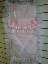 Stunning Pink Pram Set Romany Style with Lace & Crystals-fit large Silver Cross
