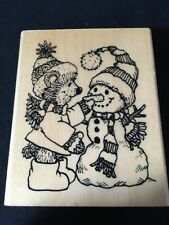 Anita'S Winter Teddy Bear with Snowman Wood Mount Rubber Stamp