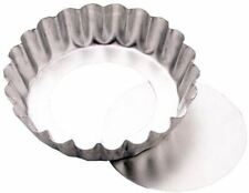 "TALA 10CM / 4"" LOOSE BOTTOM FLUTED FLAN PIE COOKING QUICHE BAKING TIN"