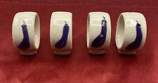 Porcelain Napkin Rings Cream With Eggplant Motif Set of 4 2x1.75�