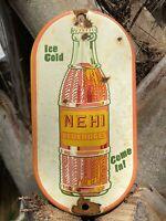 VINTAGE NEHI BEVERAGE PORCELAIN METAL SIGN GAS STATION SODA POP ADVERTISING COKE