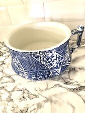 More details for vintage burleigh blue willow chamber pot/ planter/bed pan - great condition 30cm