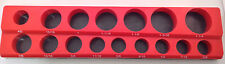 "1/2"" Drive 15pc Magnetic SAE Socket Holder 6 Deep 9 Shallow 1 Adaptor"