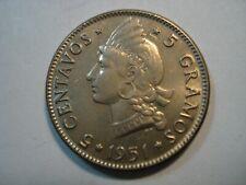 DOMINICAN REPUBLIC  5  CENTAVOS   1951  GEM  UNC