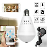 360° HD Wifi Wireless IP Camera Panoramic Light Bulb Home Security CCTV CAM UK
