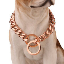 14-26 inch Stainless Steel Dog Necklace Chain Pet Training Collar Rose-Gold  U1