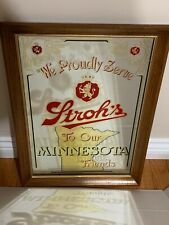 """Strohs """"We Proudly Serve"""" Minnesota collectible beer mirror"""