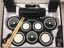 Electronic Drum 7 Pad Portátil Con Palo kits de pad de batería plegable musical Gear UK