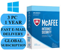 McAfee Internet Security 3 PC 1 YEAR (ACCOUNT SUBSCRIPTION) 2018 NO KEY CODE!!!