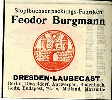 Fedor Burgmann Dresden STOPFBÜCHSENPACKUNGS-FABRIKEN Trademark 1908