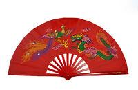 Chinese Kung Fu Tai Chi Wushu martial art Performing Dragon & Phoenix Red Fan