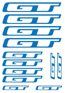 GT x 12 Frame Bike Decals - SET OF 12 BICYCLE FRAME REPLACEMENT VINYL STICKERS