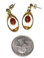Earrings Dangle Goldstone Yellow Gold Plated Oval