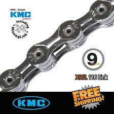 KMC X9SL Bicycle Chain 9 Speed Super Light Silver Silver 116Link w/missing link
