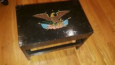 ANTIQUE VINTAGE WOOD BENCH OR FOOTSTOOLw Patriotic Eagle Painting LOOK! NICE!