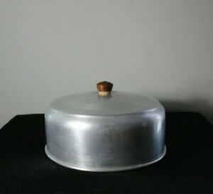 Vintage c.1950  Retro Aluminum Cake Plate Cover ONLY  with Wood Knob Handle