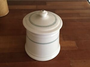 Vintage Shenango Restaurant Ware Green Covered Stripe Sugar Bowl EC