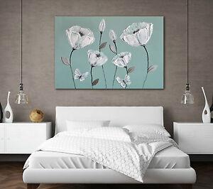 CANVAS ART DUCK EGG BLUE GREEN GREY WHITE FLOWERS ZEN PICTURE PRINT NEW BEDROOM