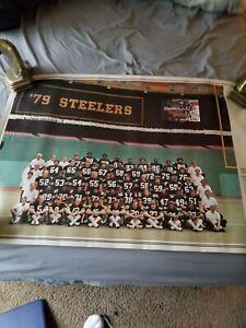 VINTAGE 1979 PITTSBURGH STEELERS POSTER 34X23 BRADSHAW, HARRIS,