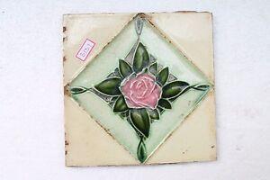 Antique Rose Flower Engrave Nouveau Art Majolica Ceramic Tiles Japan Made NH3131