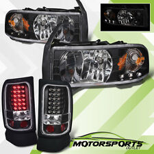 1994-2001 Dodge Ram 1500 2500 3500 Black LED Headlights w/ LED Black Tail Lights
