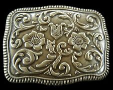 Floral Western Cowboy Cowgirl Ranch Rodeo Metal Belt Buckle Boucle de Ceinture