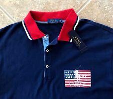 Polo Ralph Lauren Mesh Shirt Sz 2XLT Navy w/ US Flag & Red Trim Classic NWT $125