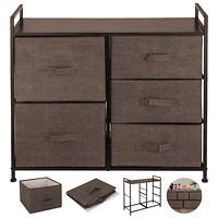 5 Drawers Fabric Dresser Bin Storage Tower Closet Organizer Bedroom Home Office