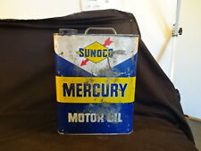 "Old Vtg Sunoco Mercury Motor Oil Tin Can Two (2) Gallons USA 10 1/2"" x 8"""