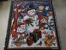 Crown Crafts Christmas Throw Holiday Snowman Snow Woven Tapestry Blanket 58 x 49