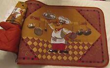 Rare 4 pc Kitchen Set: Kitchen Mat,Towel, Pot Holder & Oven Mitt, Fat Chef