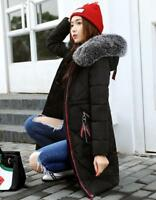 UK Womens Winter long Down Padded Parka Fur Collar Hooded Coat Quilted Jacket xi