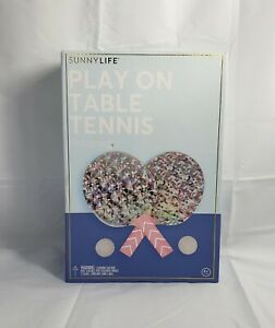 SUNNYLIFE Ping Pong Play On Table Adjustable Tennis Mini Net Set Holographic
