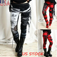 Women Print Mesh Patchwork Pants Skinny High Waist Gothic Style Casual Trousers